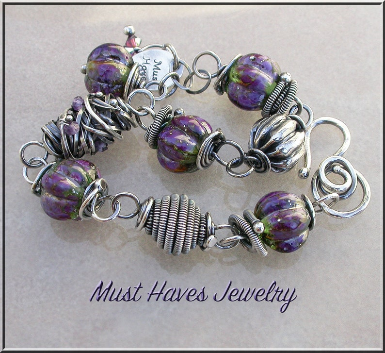 Spring Green and purple Lampwork and silver link  bracelet image 0