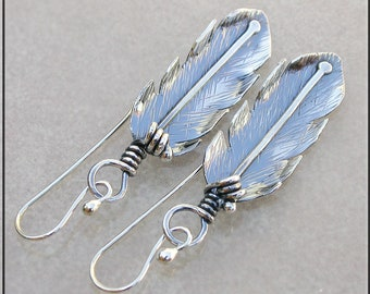 Medium Sterling Silver Feather earrings,  feather dangle earrings