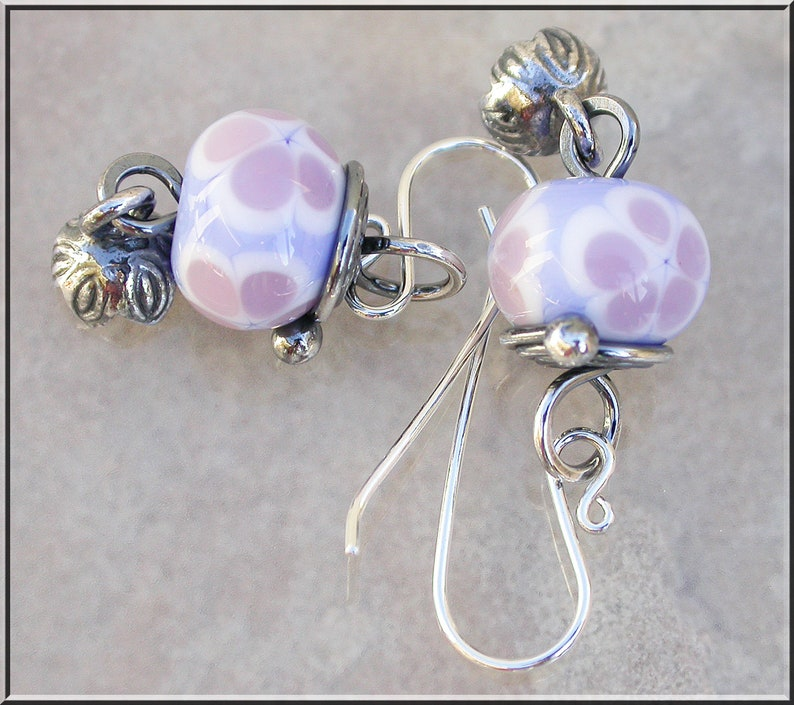 Blue and Mauve silver flower lampwork dangle earrings image 0