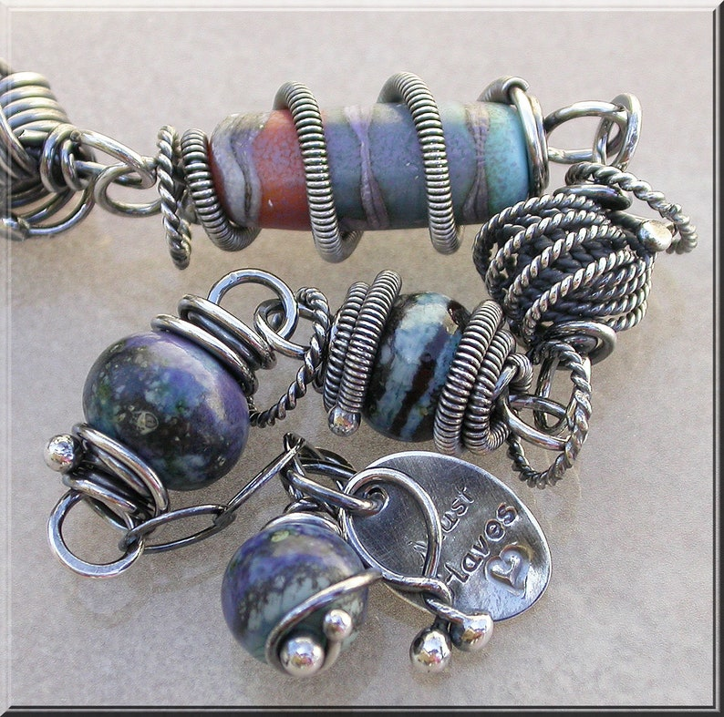 Midnight Lampwork and silver wire wrapped  bracelet image 0