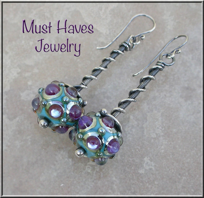 Long purple and turquoise lampwork and silver earrings image 0