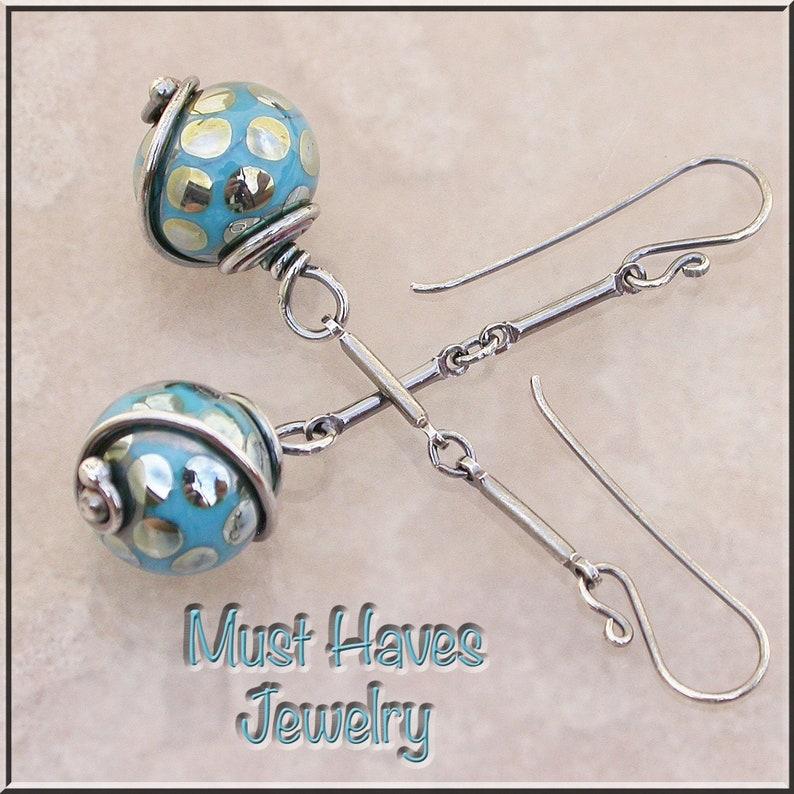 Turquoise Lizard Scales long  lampwork dangle earrings image 0