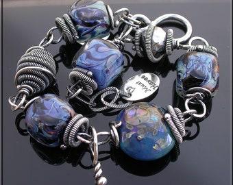 Denim Blue floral  Lampwork Bracelet,  silver link bracelet,  Blue lampwork bracelet