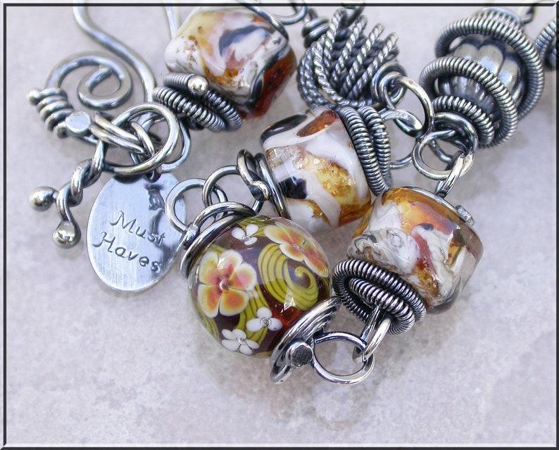Amber Floral Lampwork and silver link  bracelet image 0