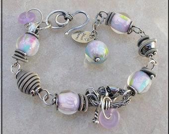 Purple and Aqua Lampwork  bracelet,  aqua Lampwork bracelet