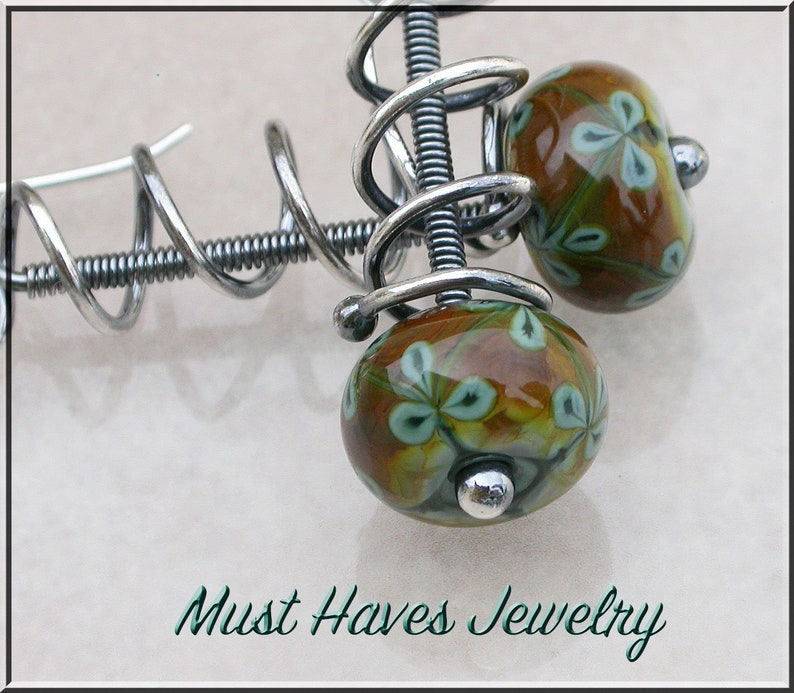 Shiny aqua and rich brown  lampwork dangle earrings image 0