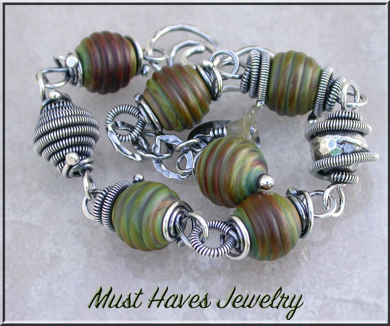 Earthy Raku Lampwork and silver wire wrapped  bracelet image 0
