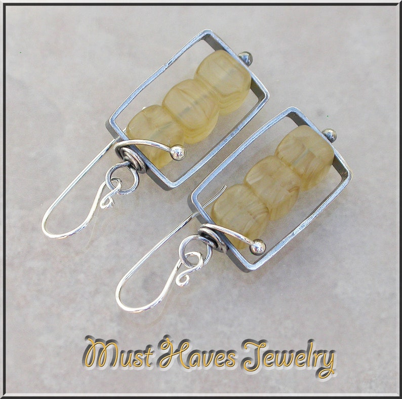 Caged golden cubes silver drop earrings image 0