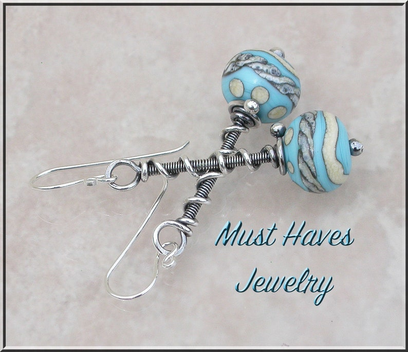 Long Turquoise and beige  lampwork  and silver dangle earrings image 0