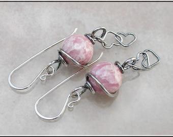 Pink stone dangle earrings,  oxidized earrings,  rhodochrosite earrings
