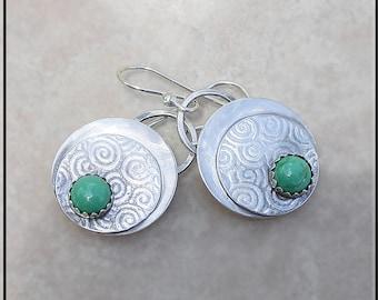 Metalwork sterling  silver turquoise  Earrings,  turquoise and silver earrings,,oxidized turquoise earrings