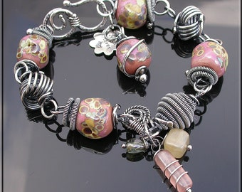 Rustic Mauve Lampwork and silver wire wrapped link bracelet,  Lampwork Bracelet