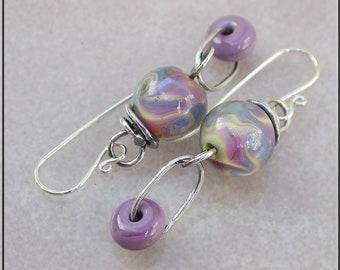 Heather purple lampwork dangle earrings,  Purple and pink earrings