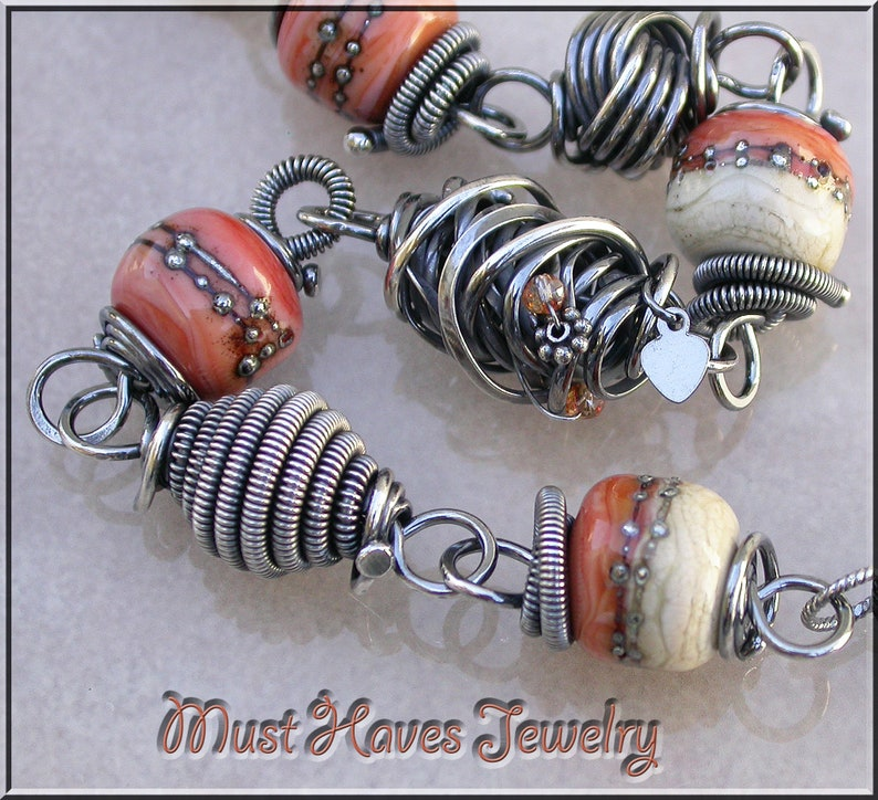 Autumn Leaves Lampwork and silver link  bracelet image 0
