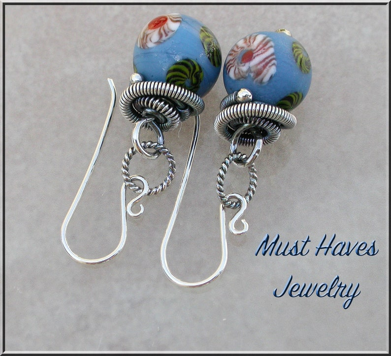 Blue Trade Bead and silver dangle earrings image 0