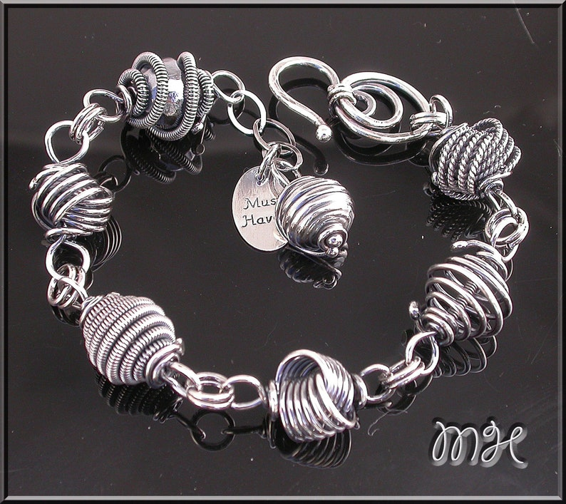 Metalwork All silver link layering bracelet image 0