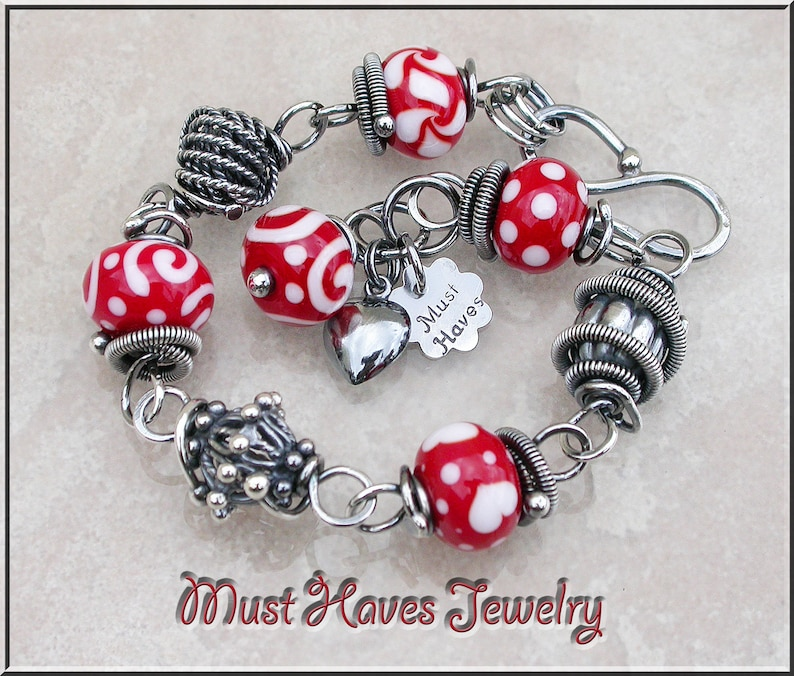 Fun Red  Lampwork and silver wire wrapped link bracelet image 0