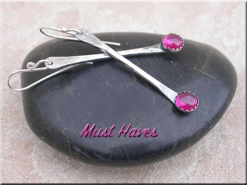 Ruby dangle Earrings long silver drop hammered long dangle image 0