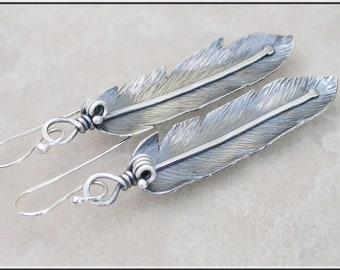 Long Sterling Silver Feather earrings,  feather dangle earrings