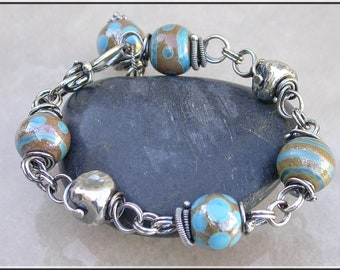 Turquoise Lampwork  bracelet,  turquoise and tan bead bracelet