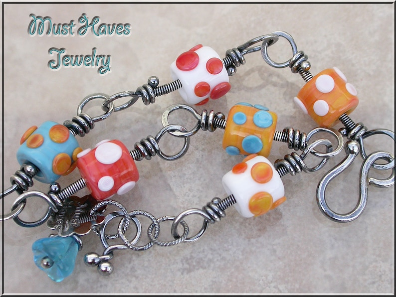 Southwest Lampwork and silver wire wrapped link bracelet image 0