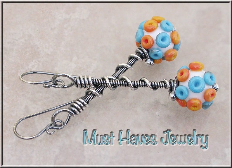 Terra cotta long lampwork dangle earrings image 0