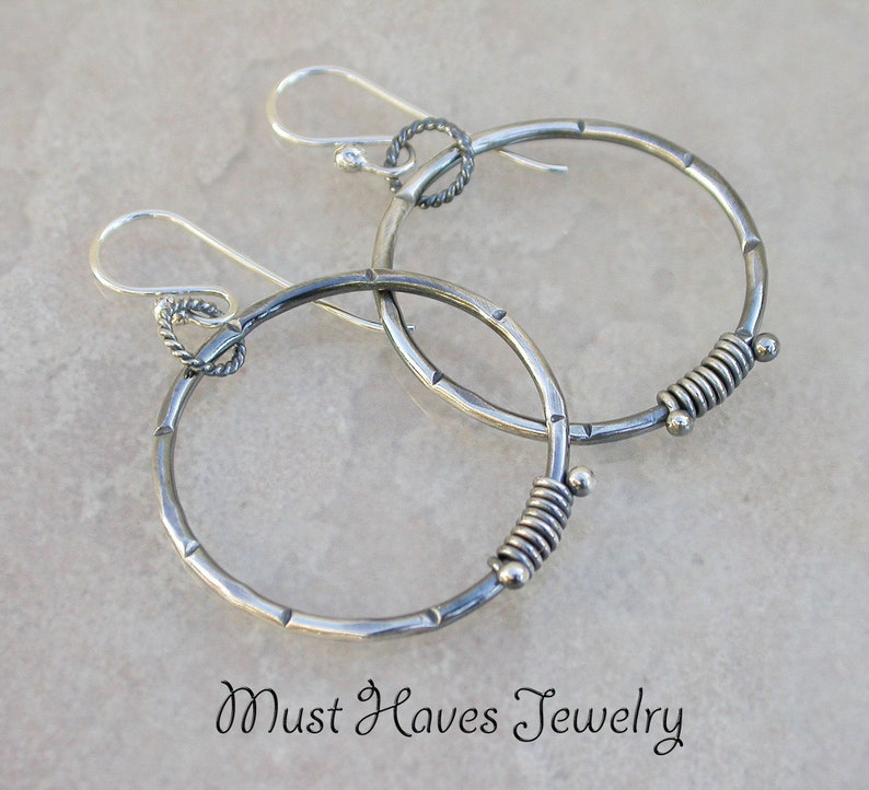 Rustic Metalwork silver Hoop Earrings image 0