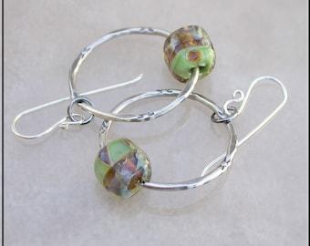 Earthy lampwork hoop earrings,  hoop earrings,  green hoop earrings