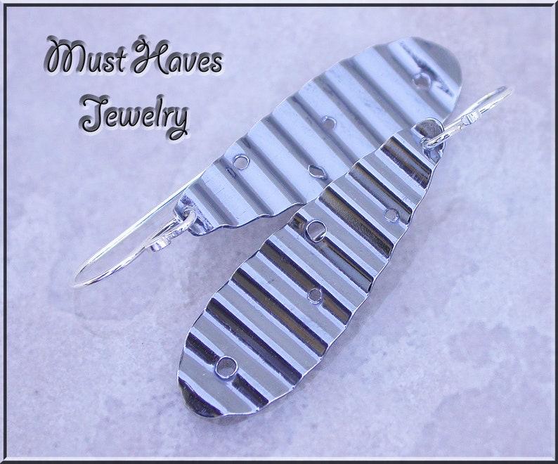 Minimalist Rippled  sterling silver metalwork earrings image 0