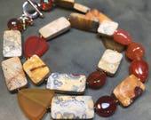 semi-precious gemstone necklace - unique statement jewelry - boho luxe SHAE necklace - gemstone jewelry organic modern necklace