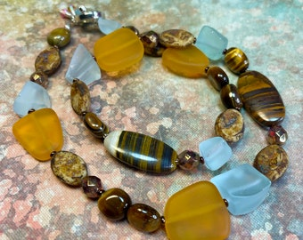 golden glass and tiger eye jewelry, funky boho statement necklace, QUINN necklace, great gift idea, everyday wear, all occasion wear