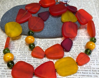 vibrant recycled glass jewelry - bright simple statement necklace - CAYENNE necklace - great gift idea - everyday wear - all occasion wear