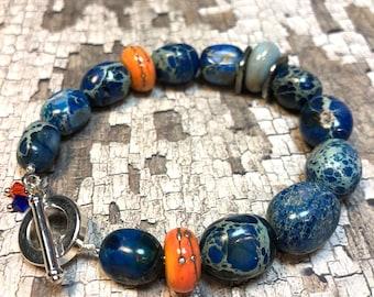 bold chunky blue bracelet  - contemporary boho luxe semi-precious gemstone bracelet - CIEL bracelet - great gift idea - everyday wear