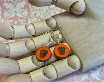 orange embossed glass earrings, fun & funky, great gift idea, all occasion jewelry, every day earrings