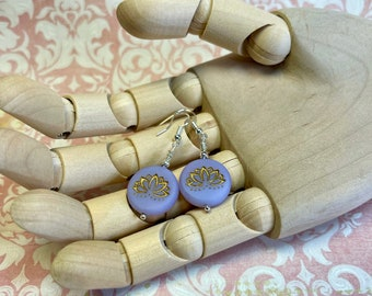 lilac embossed glass earrings, fun & funky, great gift idea, all occasion jewelry, every day earrings