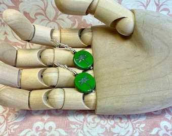 green embossed glass earrings, fun & funky, great gift idea, all occasion jewelry, every day earrings