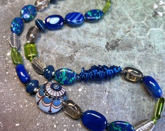 blue & green semi-precious gem jewelry, recycled glass wire silver smoky quartz, PEPPER necklace, great gift, daily wear, all occasion