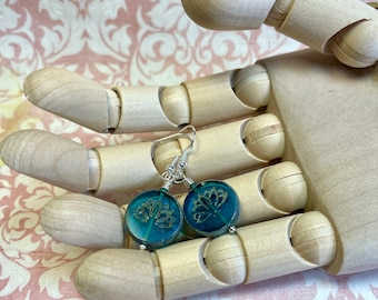 teal embossed glass earrings, fun & funky, great gift idea, all occasion jewelry, every day earrings
