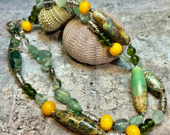 unique boho luxe statement necklace -  long green semi-precious gemstone necklace  - PALMER'S FOLLY necklace –  great gift idea