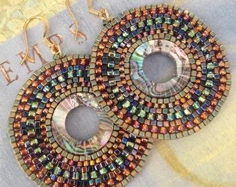 Abalone Earrings Large Seed Bead Earrings Summer Beach Shell Jewelry