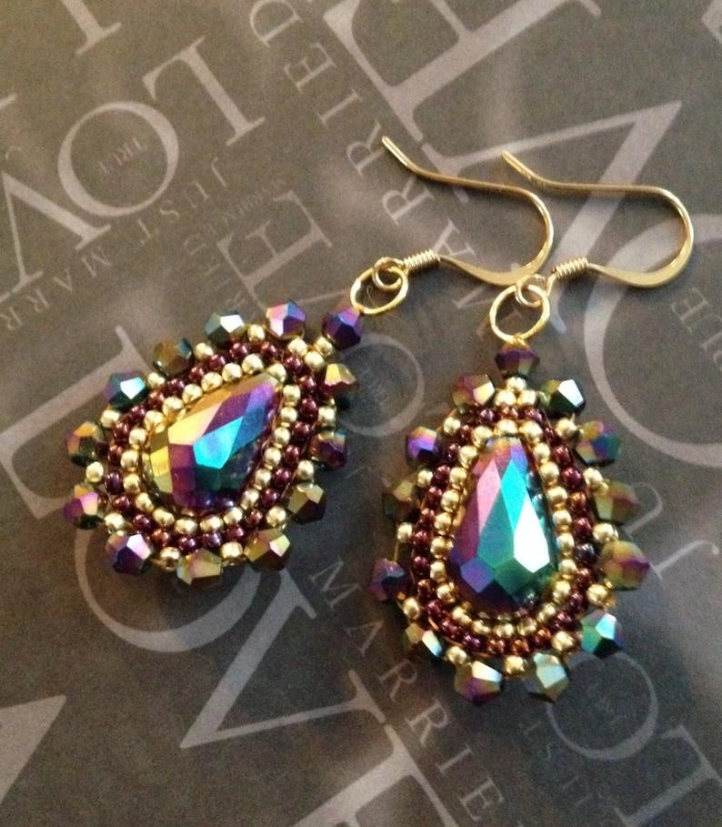 Beaded Earrings Purple Rainbow CRYSTAL GODDESS Seed Bead Dangle Earrings