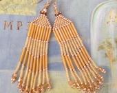 Fringe Earrings - Long Golden Honey Seed Bead Earrings