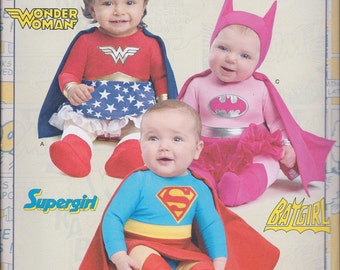 Simplicity 8193 Baby's Wonder Woman Batgirl Supergirl Costume size XXS-L UNCUT Sewing Pattern