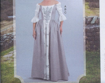 McCall's 7764 Misses 18th Century Outlander Costume Dress Boned Bodice and Skirt UNCUT Sewing Pattern