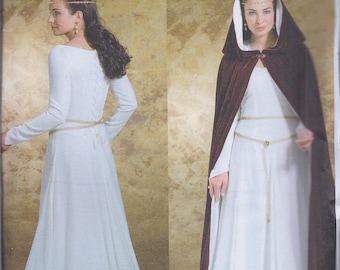 Butterick 4377 Misses Women's Medieval Ren Faire Costume Dress and Cape UNCUT Sewing Pattern