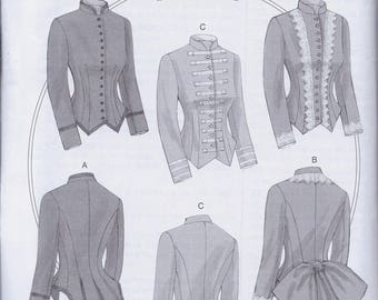 Butterick 6400 Misses Victorian Steampunk Boned Jacket Bodice Blouse UNCUT Sewing Pattern