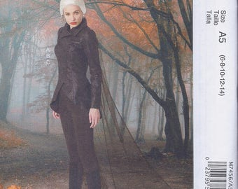 McCalls 7456 Misses Cos Play Costume Jacket Leggings Cape  UNCUT Sewing Pattern