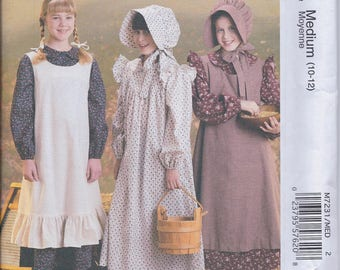 McCalls M7231 Girl's Pioneer Costume Dress Bonnet Pinafore Apron UNCUT Sewing Pattern