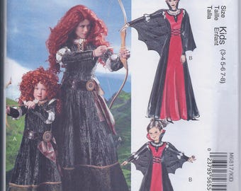 McCall's M6817 Girls OR Misses Brave Princess Merida Maleficent RenFaire Costume UNCUT Sewing Pattern