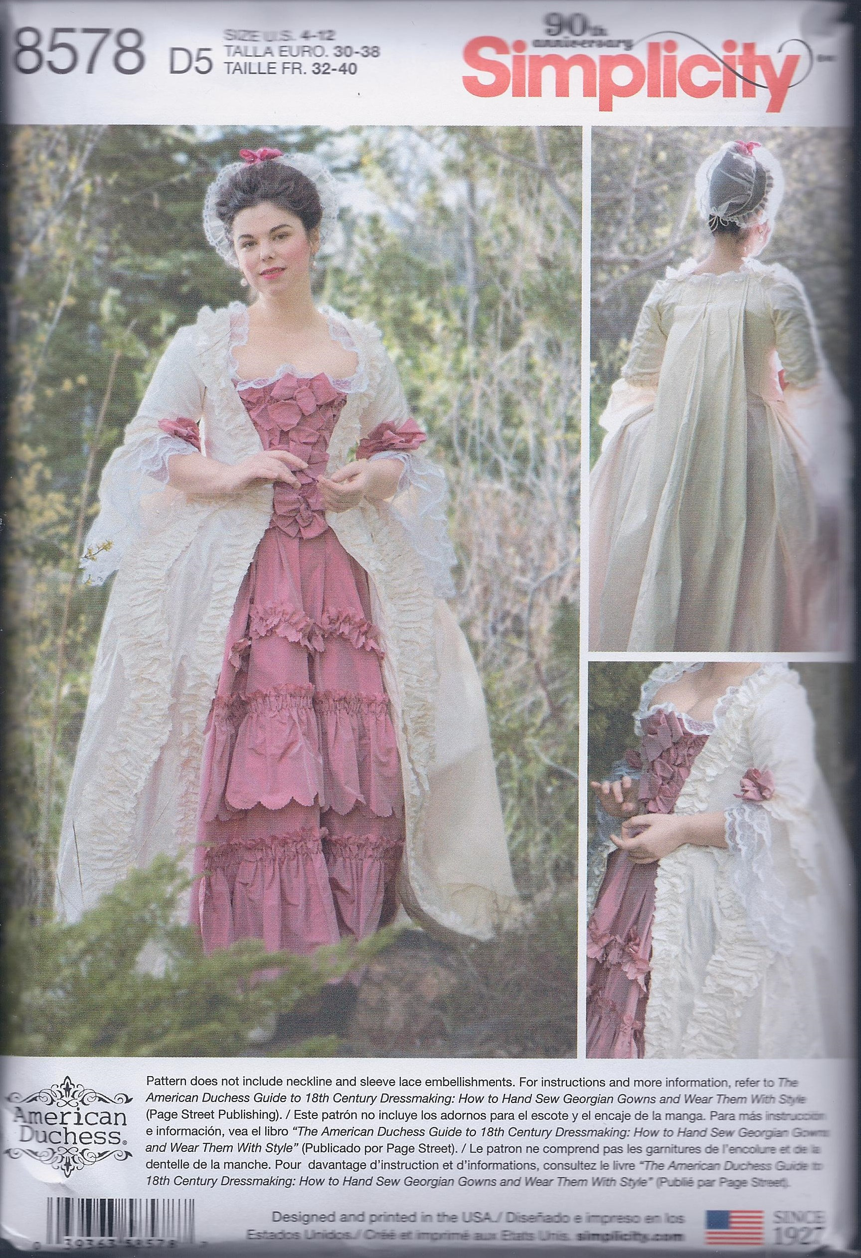 Einfachheit 8578 vermisst 18. Jahrhundert Marie Antoinette